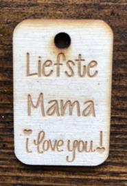 Houten label liefste mama