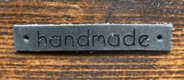 Leren label grijs handmade