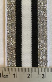 Streep met zilverglittertje 3 cm