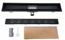 douchegoot mat - zwart 70 cm met vloer flens