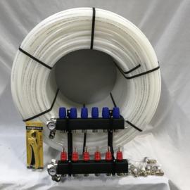 kunststof verdeler 6 groeps en 600 mtr buis 16 mm incl aansluitkoppelingen en kniptang
