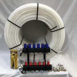 kunststof verdeler en 500 mtr buis 16 mm incl aansluitkoppelingen en kniptang