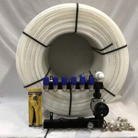 basic vloerverwarming verdeler , 500 mtr buis , aansluitkoppelingen en kniptang circa 50 m2