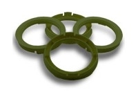 Centreerringen set 72.5->65.1mm Olive groen (725651)