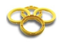 Centreerringen set 70.4->58.1mm Lemon geel (704581)