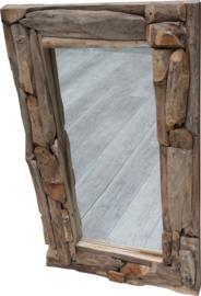 Spiegel Teakhout Erosie rechthoek 120 x 80
