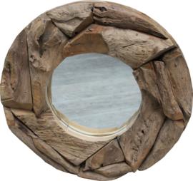 Spiegel Teakhout rond Erosie  60 cm.