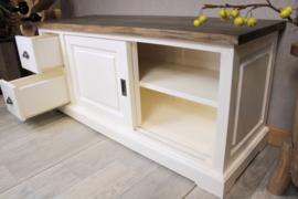 JATIBEL TV meubel White &Teak 140 cm. | Schuifdeuren