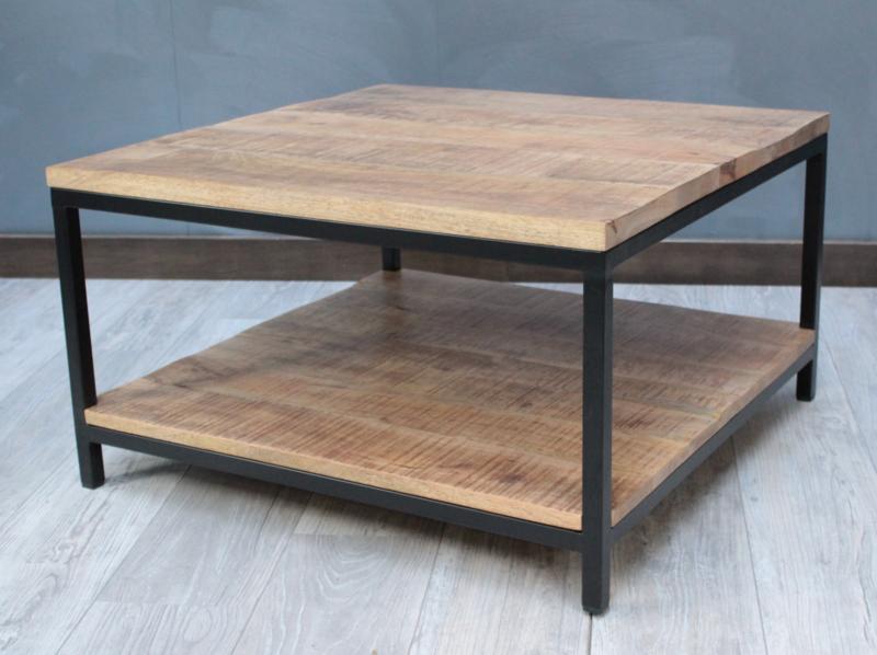 Salontafel 2-laags vierkant 80 cm