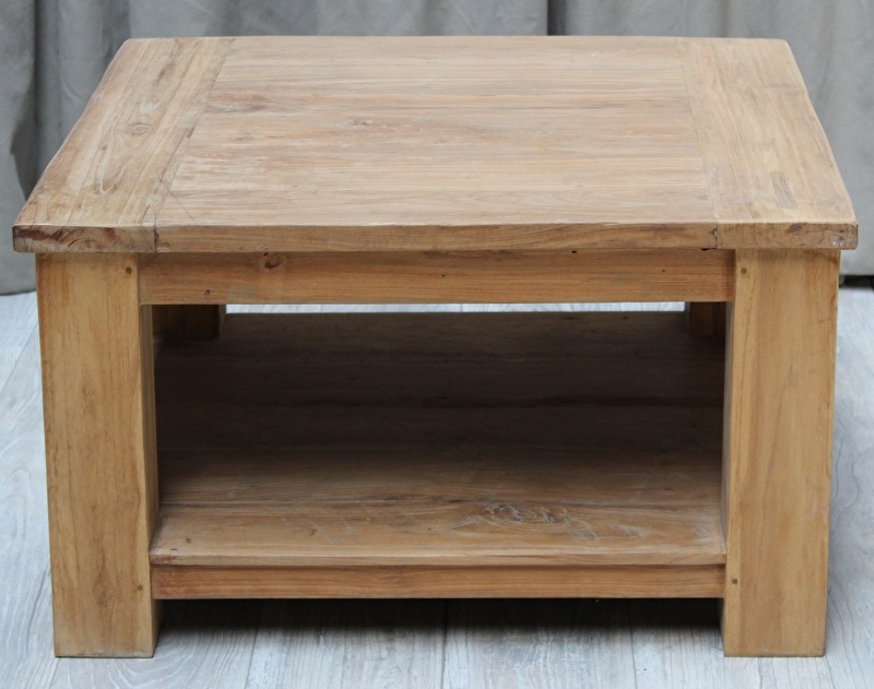 Oud TEAK salontafel 3 afmetingen: 60x60 / 80x80 / 90x90cm.