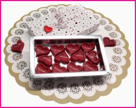 Valentijn Hartjes Chocolade in doosje.