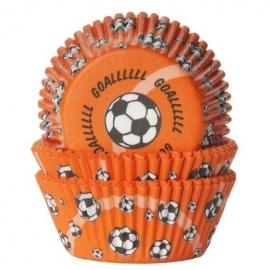 HoM Cupcake vormpjes Oranje met voetbalprint