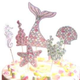 Zeemeermin Mermaid Taart Decoratie Topper Set