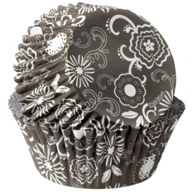Wilton Cupcake vormpjes Flower Black-White 36st