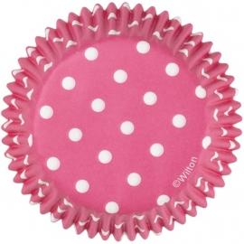 Wilton Cupcake vormpjes Roze met witte stippen 75st