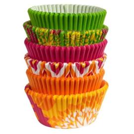 Wilton Cupcake vormpjes Assortie Neon Floral 150st