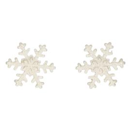 FunCakes Suikerdecoratie Sneeuwvlokken Zilver Set/6