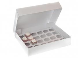HoM Cupcakes doos blanco met houder (50st)