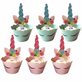 Unicorn Cupcake Wrapper met Topper 12st
