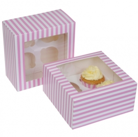 HoM Cupcake doosje 4 met venster 17,8x17,8x9cm Circus Pink