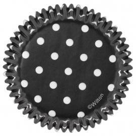 Wilton Cupcake vormpjes Zwart met witte stippen 75st