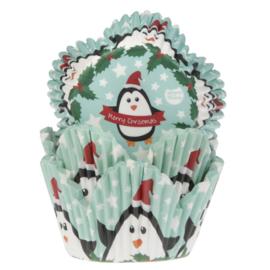 HoM Cupcake vormpjes  Tulp met Xmas Pinguïns 50st