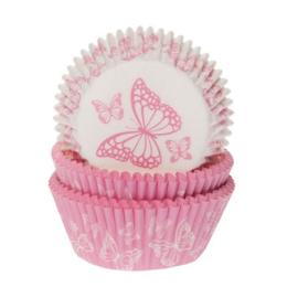 HM Cupcake vormpjes Roze Vlinder 50st