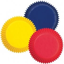 Wilton Cupcake vormpjes Rood, Blauw en Geel 75st