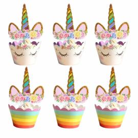 Unicorn & Regenboog Cupcake Wrapper met Toppers 12st