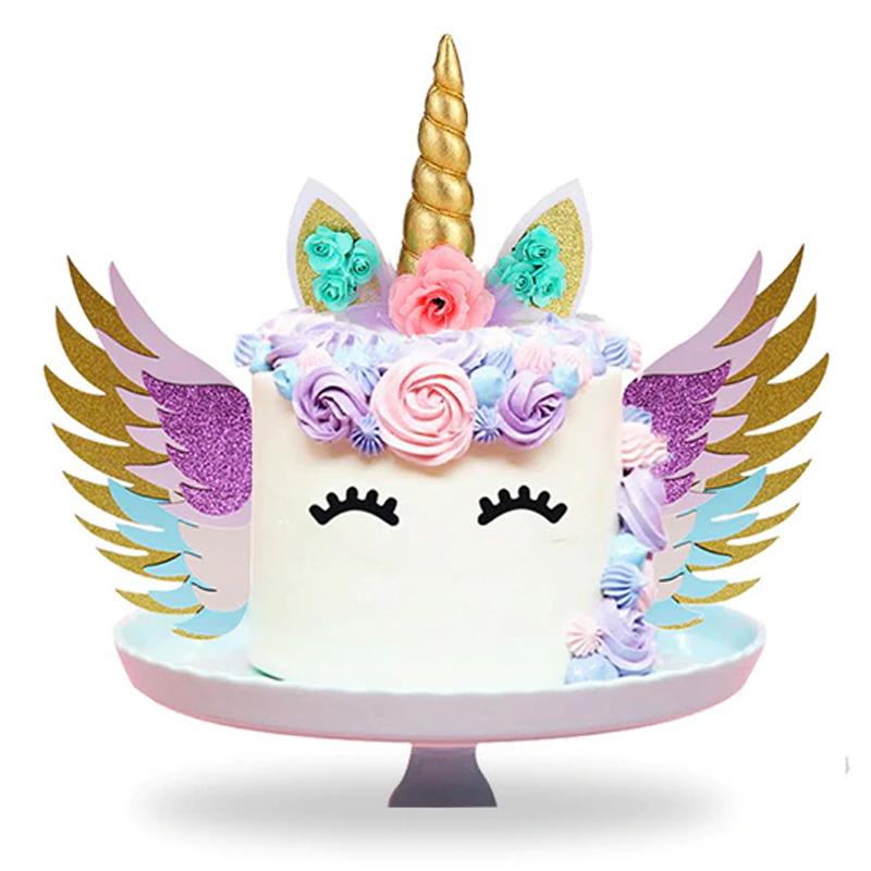 Unicorn Taart Decoratie Set met Topper en Vleugels