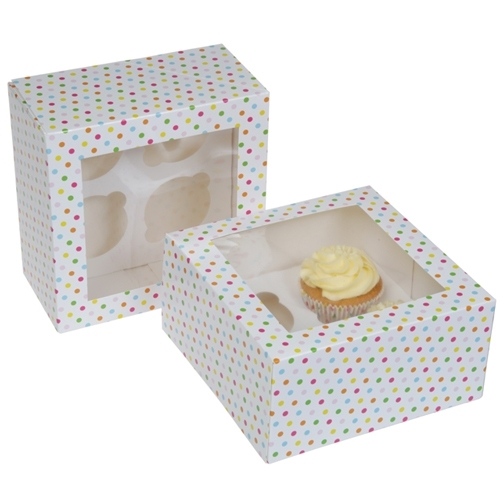 HoM Cupcake doosje 4 met venster 17,8x17,8x9cm Confetti