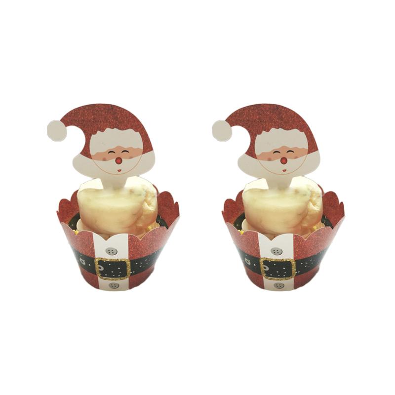 Kerstman Cupcake Wrapper met Toppers 12st