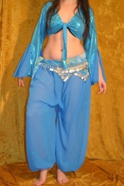 Turquoise harembroek, voile