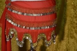 RR05 Heupsjaal met goudkleurige munten en pegels, golfrandzoom. Sjaal is in diverse kleuren te bestellen