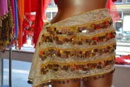 RR09 Gouden kanten heupsjaal met rijen goudkleurige pailletten en munten - XLarge