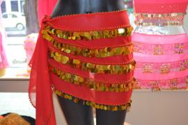 RR11 Heupsjaal met rijen goudkleurige pailletten. Sjaal is in diverse kleuren te bestellen.