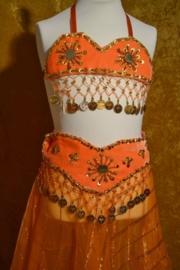 Fluwelen bh + voile rok Oranje/goud
