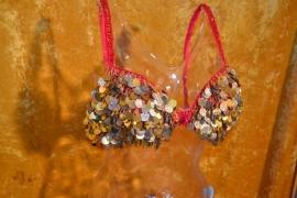 BH + heupriem. Goudkleurige franjes van kralen met pailletten en munten, rode ondergrond