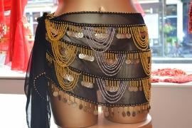 RR07 Zwarte heupsjaal met rijen goudkleurige bolletjes en munten, versierd met bolletjeskettingen - Large