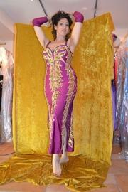 Bessenpaarse  jurk met veter