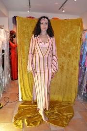 Galabiya jurk met bijpassende bh en haarversiering - streepstof
