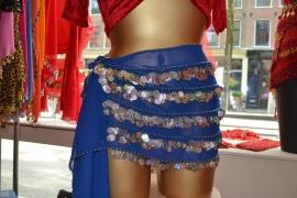 RR10 Blauwe heupsjaal met rijen van munten en pailletten - Large