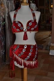 BH + sjaal, fluweel, versierd met grote schijven en franjes - diverse kleuren