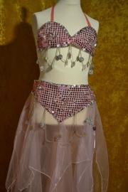 Paillettenstof bh + voile rok roze/zilver