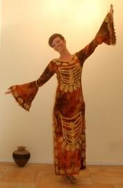 Bruin fluwelen jurk