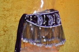 F08 Fluwelen sjaal met gazen schootje. Sjaal is in diverse kleuren te bestellen.