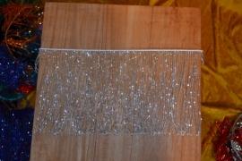 Kralenfranje, 20cm hoog, zilver of goud