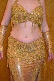 Buikdanskostuum goud met panterprint