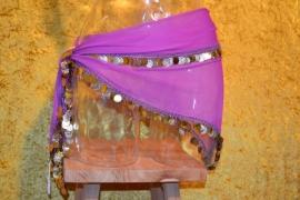 D33 Driehoek heupsjaal met rondom goudkleurige pailletten en munten. Sjaal is in diverse kleuren te bestellen.