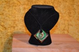 Halsketting, muranoglas groen/bruin, vierkant